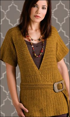 Ravelry: Angles & Lines Top pattern by Rebecca Velasquez Crochet Coaster Pattern, Crochet Vest Pattern, Crochet Wool, Crochet Cardigan, Top Pattern, Free Crochet, Crochet Patterns, Crochet Sweaters, Tunisian Crochet
