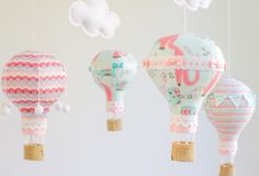 Baby Mobile, Nursery Decor, Hot Air Balloon Mobile, Teal and Pink, Baby Shower Gift, Baby Girl Nursery Decor