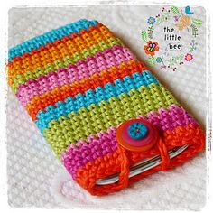 This bright & stripy mobile phone cover is a fun way to protect the screen of your smart phone. Use up all your scraps to create your own rainbow effect or follow the colour scheme given in the pattern, it's up to you!