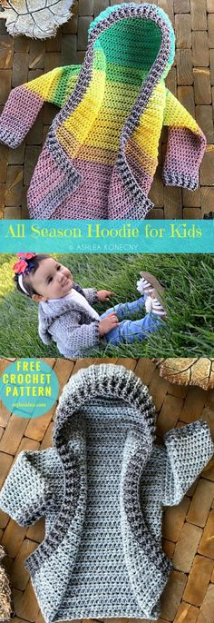 All Season #CrochetHoodie for Kids #FreeCrochetPattern Crochet → #Coat / Jacket | Sizes available 6 month - 12 youth | Written | US Terms Level: upper beginner yarn: Worsted (9 wpi) Hook: 6.0 mm (J) Author: Ashlea Konecny. Getting family photographs taken? Make one of these cardigans for each of the kiddos! This example is for the year newborn or older child hoodie, however, a similar idea is the thing that I've used to make all sizes that (presently) go up to 22/24W!