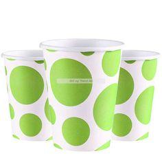 #Dotsmønster - 8 stk - Kopper - Dots - Limegrønn. Kun kr 29,00 NOK - Pappkrus i Dotsserien i akkurat passe størrelse for bursdag! Superstilig mønster med store og små dots, med spreke farger. Dette er pappkopper som rommer 266ml med brus, saft, juice, slush eller noe annet som er godt å drikke :) I pakken er det en rad på 8 stk. bursdagskopper. Dots, Tableware, Juice, Stitches, Dinnerware, Tablewares, Dishes, Place Settings