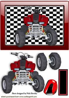 RED QUAD BIKE IN GLASS ORNATE FRAME WITH HELMET on Craftsuprint - Add To Basket!