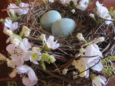White Floral Bird Nest by TheHomemadeHobbies on Etsy