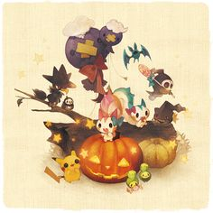 Pikachu, banette, budew, drifblim, drifloom, dusknoir, duskull, pachirisu, starly and zubat