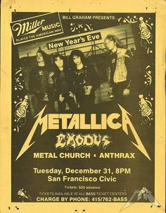 When Metallica shows were cheap, and Anthrax opened for Exodus . Tour Posters, Band Posters, Music Posters, Metallica, Hard Rock, Motley Crue Concert, Vintage Concert Posters, Rock And Roll Bands, Rock Bands