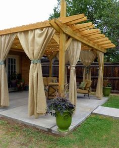 Pergola Curtains. For the BBQ area = LOVE!!!