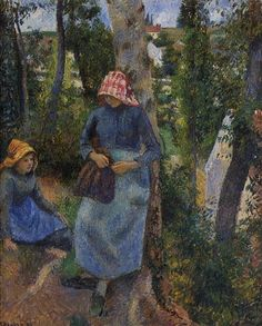Two Young Peasants Chatting under the Trees, 1881. Camille Pissarro