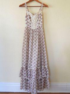 Vtg 70s GUNNE SAX by JESSICA Floral Lace Boho Prairie Festival maxi SUN Dress M in Clothing, Shoes & Accessories | eBay
