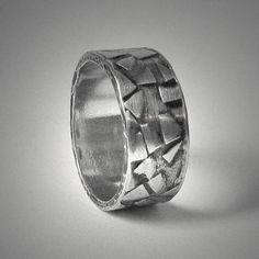 Men's unique silver rustic wedding band - custom handmade sterling silver mens organic wedding ring on Etsy, $125.00