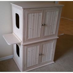 Cat Training Litter Box Stacked Double Cat Litter Box Cabinet with Odor Absorbing Light