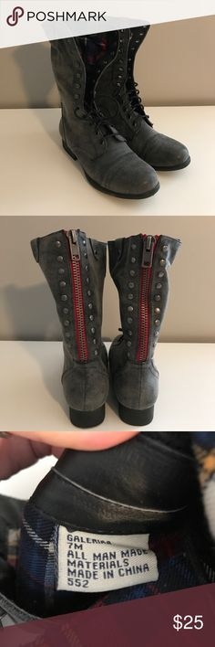 Madden Girl Gray Lace Up Boots Madden Girl; Gray Lace Up Boots; Worn Once; Great Condition; no signs of wear Madden Girl Shoes Lace Up Boots