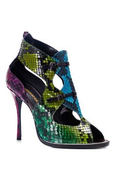 The Year of the Snake: Nicholas Kirkwood Rainbow Python Sandal Hot Shoes, Crazy Shoes, Me Too Shoes, Bootie Boots, Shoe Boots, Shoes Sandals, Strappy Sandals, Leather Sandals, Snake Skin Shoes