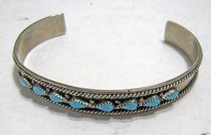 Old Zuni JN Stamped Sterling Silver Turquoise Tear Drop Row Cuff Bracelet