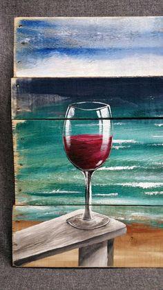 Pallets Woodworking Ideas Pallet wood beach Red Wine painting pallet by TheWhiteBirchStudio Night Painting, Beach Wall Art, Art Painting, Beach Painting, Painting Inspiration, Painting, Ocean Wall Art, Wine Painting, Canvas Painting