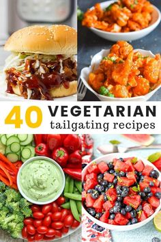 Check out this collection of 40 vegetarian and vegan recipes that are perfect for superbowl parties or tailgating! From BBQ jackfruit sliders to creamy vegan pasta salads, you'll find something perfect for everyone to enjoy at your next game day party. Vegetarian Appetizers, Appetizer Recipes, Vegetarian Recipes, Party Recipes, Vegetarian Party Foods, Vegetarian Lifestyle, Picnic Recipes, Picnic Ideas, Picnic Foods