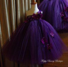 Sugar Plum Tutu Dress: Flower Girl, Birthday, Wedding, Photo Prop., Plum, Purple, Eggplant, Hydrangeas, Satin Ribbon, Velvet Ribbon