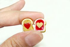 Earrings - Peanut Butter and Jelly Studs - Polymer Clay Post Earrings with Strawberry Jelly. $19.95, via Etsy.