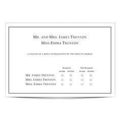 wedding rsvp card wording by name - Google Search