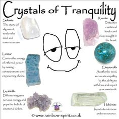 #Crystals for #Tranquility: Selenite, Larimar, Lepidolite, Kunzite, Chrysocolla, Hiddenite.