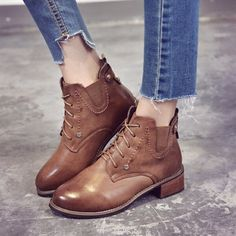 $16   Women Chelsea Martin Boots Brown Leather Autumn Winter Short Bootie For Lady Cool Motorcycle Low Top Street Style