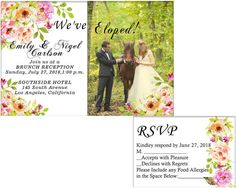 Items similar to We've Eloped! Elopement, Floral wedding invitation in watercolor style, Wedding Announcement, Post-Wedding invitation + RSVP Digital on Etsy Elopement Party, Elope Wedding, Rsvp, Party Invitations, Reception, Awesome, Etsy, Receptions