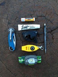 Chapstick     Zinka Nose Coat     Wayfarer Foldable sunglasses     Generic Pocket knife     Compass, whistle, thermometer combo     Generic Pen     Petzl Headlamp