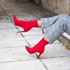 SANTE pointed toe stiletto ankle sock boot for stunning looks! Red And Grey, Black, Ankle Socks, Color Trends, Red Color, Festive, Xmas, Toe, Boots