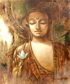 Buddha art - credit to the artist. Lotus Buddha, Art Buddha, Buddha Zen, Buddha Painting, Buddha Buddhism, Buddhist Art, Buddha Canvas, Mural Painting, Figure Painting