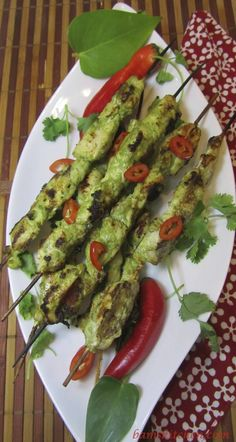 """Make your neighbours """"Green"""" with envy as they have to smell the delicious aromas coming from your backyard BBQ. Emerald Chicken Kabobs are a fun and easy recipe for Father's Day entertaining. / http://bamskitchen.com"""