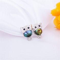 Color Crystsl Owl Earrings