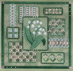 "Lily of the Valley Collage 9.25"" x 9.25"" on 18 ct santa fe sage canvas  Pattern: $16.00 (includes beads) - by Laura J Perin Designs"