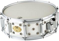 5x14 Pork Pie White Satin Vented Little Squealer Snare Drum