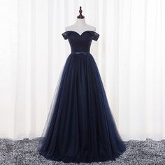 Beautiful Navy Blue Off Shoulder Tulle Long Prom