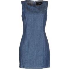 Armani Jeans Short Dress ($155) ❤ liked on Polyvore featuring dresses, blue, mini dress, short dresses, sleeveless dress, armani jeans and zip dress