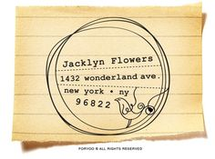 Custom return address stamp by foryoo, Etsy. Wish we had a home so I could get one of these.