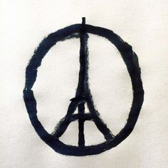 """70 million praying for Paris. This image provided by the studio of artist Jean Jullien shows the """"#PeaceForParis"""" logo."""