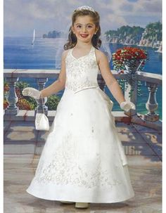 Lovely A-Line Halter Floral Ankle Length Satin First Communion Dresses/ Flower Girl Dresses with Pick-up Back and Roses