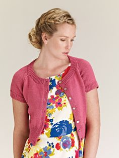 Knit this womens cropped cardigan from Simple Shapes Cotton Glacé, a design by Martin Storey using Cotton Glacé, a wonderful dry handle yarn (cotton). Knitted in stocking stitch, with raglan sleeves, this knitting pattern is suitable for beginners. Summer Knitting, Easy Knitting, Knitting Patterns, Knitting Sweaters, Crochet Patterns, Short Sleeve Cardigan, Cropped Cardigan, Rowan Yarn, Cotton Jumper