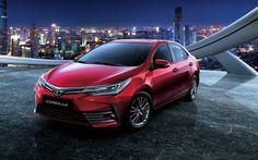 Download imagens Toyota Corolla, 2018 carros, noite, vermelho Corolla, carros japoneses, Toyota