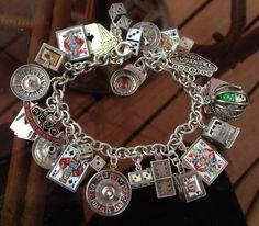 Vintage Charm Bracelet Collection - Reno & Vegas Gambling Silver & Enamel Charm Bracelet
