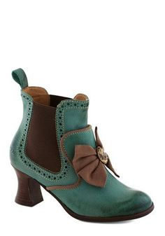 Whence Upon a Time Heel - Green, Brown, Black, Solid, Bows, Cutout, Trim, French / Victorian, International Designer, Mid, Leather, Best, St...