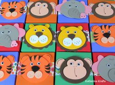 Party Favor Boxes Tiger Monkey Lion Elephant by KatherinaKrafts