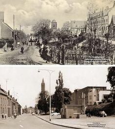 Brunssum: Twee keer Dorpstraat. De foto boven is van omstreeks 1912. Rechts het St. Joseph - Klooster en In het midden de kerk, in latere jaren werd dit het Unitas. De weg was zo te zien een modderpoel. De foto onder, vrijwel vanuit dezelfde positie genomen, is van eind 60er jaren. Het witte gebouw uiterst rechts was toen het consultatiebureau van het Groene Kruis. Op de voorgrond friture Hanssen. Inmiddels is dit straatbeeld momenteel, 2014, ook niet meer van toepassing. Dit gedeelte van de…