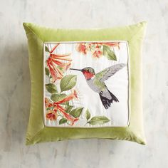 Hummingbirds in nature are a wonder to behold, as is the one interpreted on this embroidered pillow. This fellow has an affinity for trumpet vine, neutral piping and a wide border frame, too. Outdoor Throw Pillows, Accent Pillows, Living Room Cushions, Lumbar Pillow, Slipcovers, Decorative Pillows, Quilts, Embroidery, House Styles
