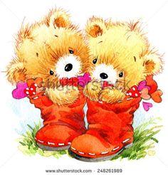 Valentine day. Teddy bear.background for congratulation festive.  watercolor illustration