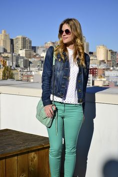 Mint green styling for fall. #mint #condition