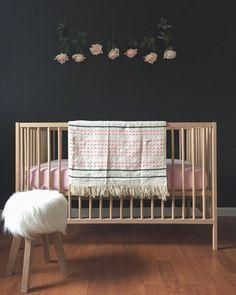 IKEA Sniglar crib in a black nursery with blush and pink accent ideal for a girl's space Nursery Room, Baby Bedroom, Girl Nursery, Kids Bedroom, Nursery Decor, Nursery Ideas, Rose Nursery, Baby Rooms, Nursery Themes