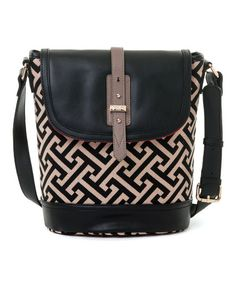 Look what I found on #zulily! Black & Beige Callahan Saddle Linen-Leather Blend Shoulder Bag #zulilyfinds