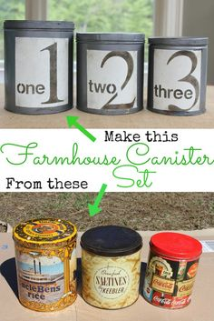 Create a farmhouse canister set from old tins. Thrift store upcycle. Life on Kaydeross Creek