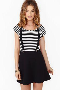 Roll Call Suspender Skirt $48.00 from nastygal.com